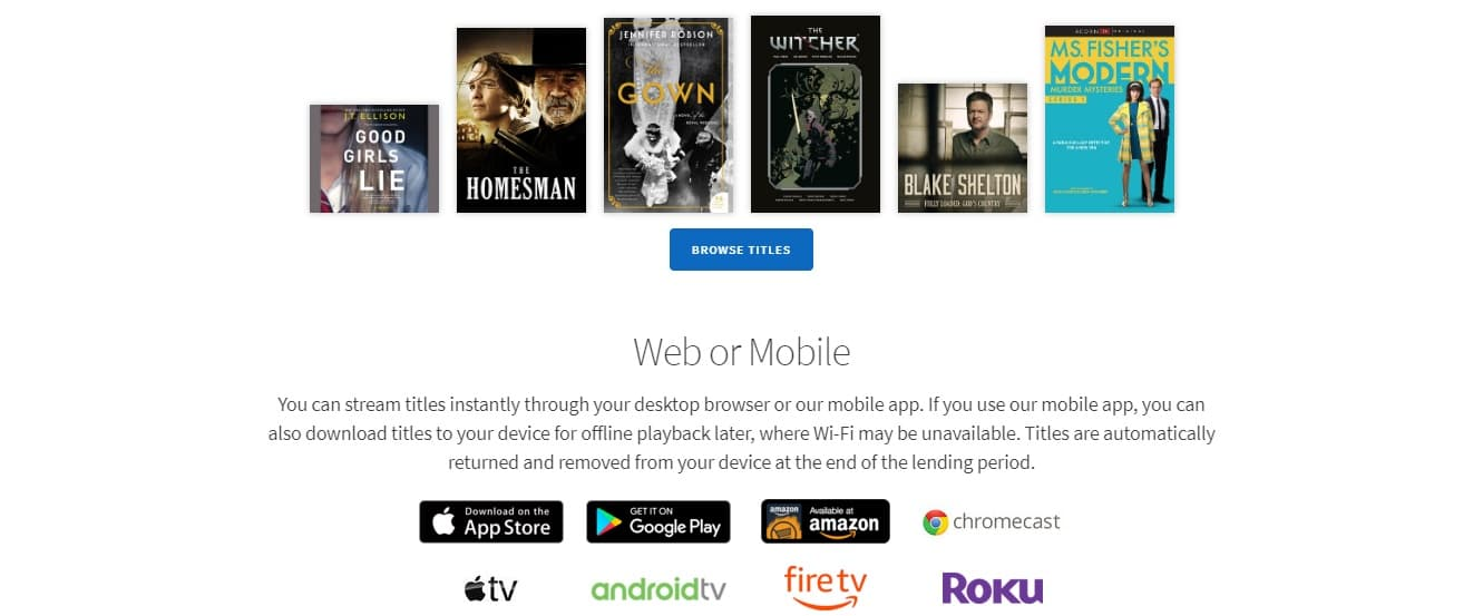 Hoopla is a public library that comes with more media that contains ebooks, Movies, TV shows