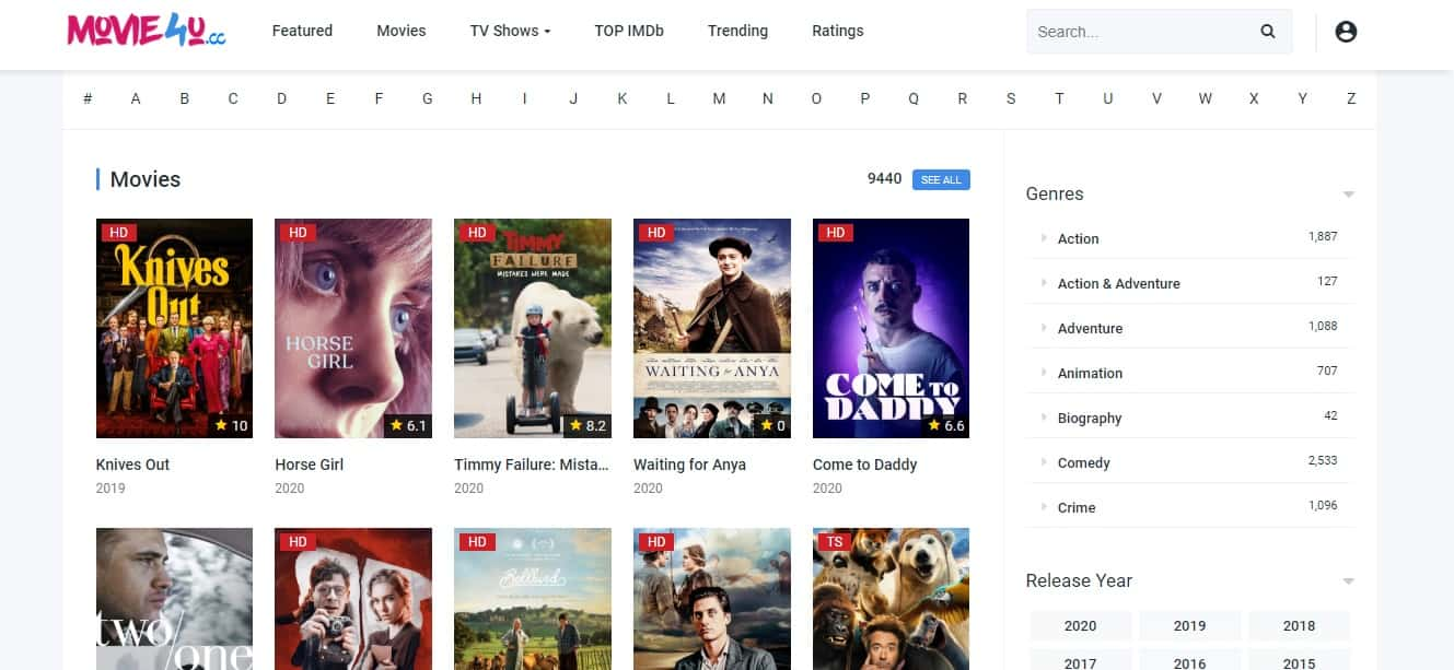 Movie4u - It's another best choice for those who want to watch free online HD movies
