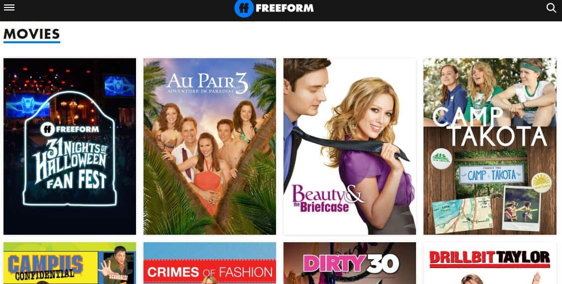 freeform - free movie streaming site with many categories of movies and TV shows