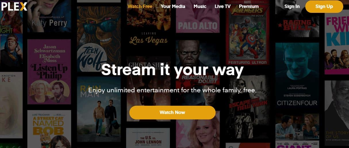 Plex TV is a free movie streaming service that also contains live TV shows and music