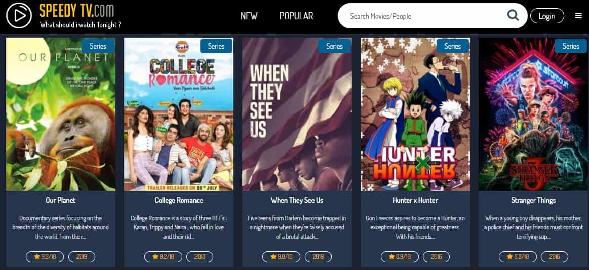 Speedy TV is a free movie streaming search site
