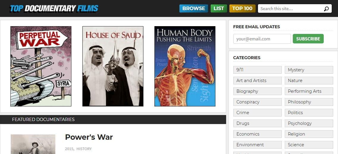 Top Documentary Films is a website for broadcasting the best documentaries for free
